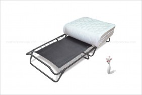 Folding bed with fabric